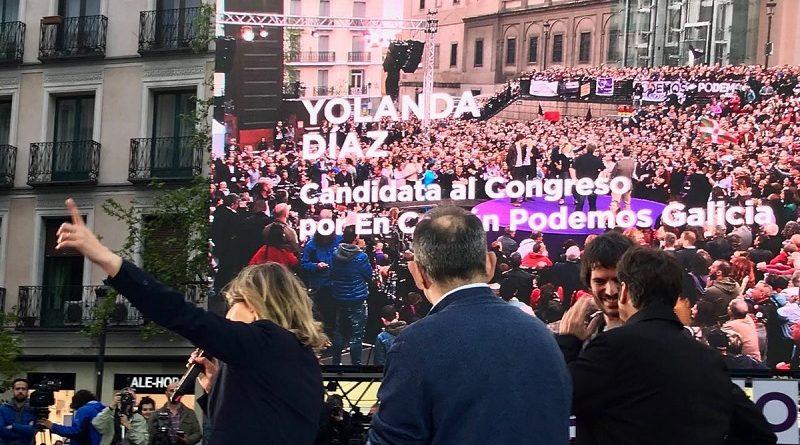 Yolanda Díaz esquécese de Pontevedra no seu mitin pre-campaña en Madrid